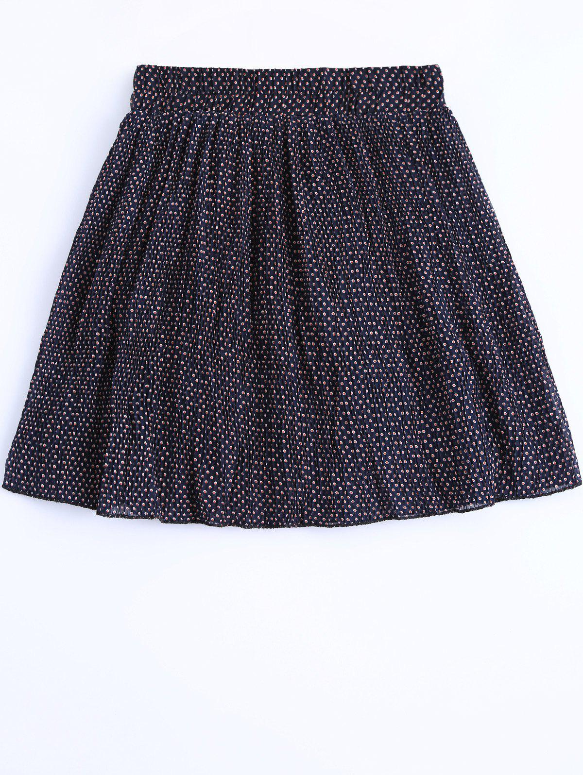 Women's Elastic Waist Polka Dot Skirt - DEEP BLUE ONE SIZE(FIT SIZE XS TO M)