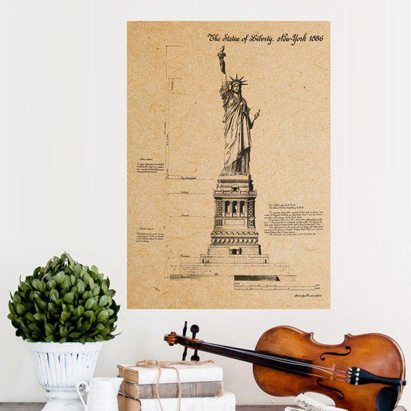 Creative Statue of Liberty Pattern Kraft Paper Poster Wall Sticker For Home Decoration