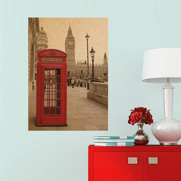 Creative Telephone Booth Pattern Kraft Paper Poster Wall Sticker For Home Decoration - SOIL