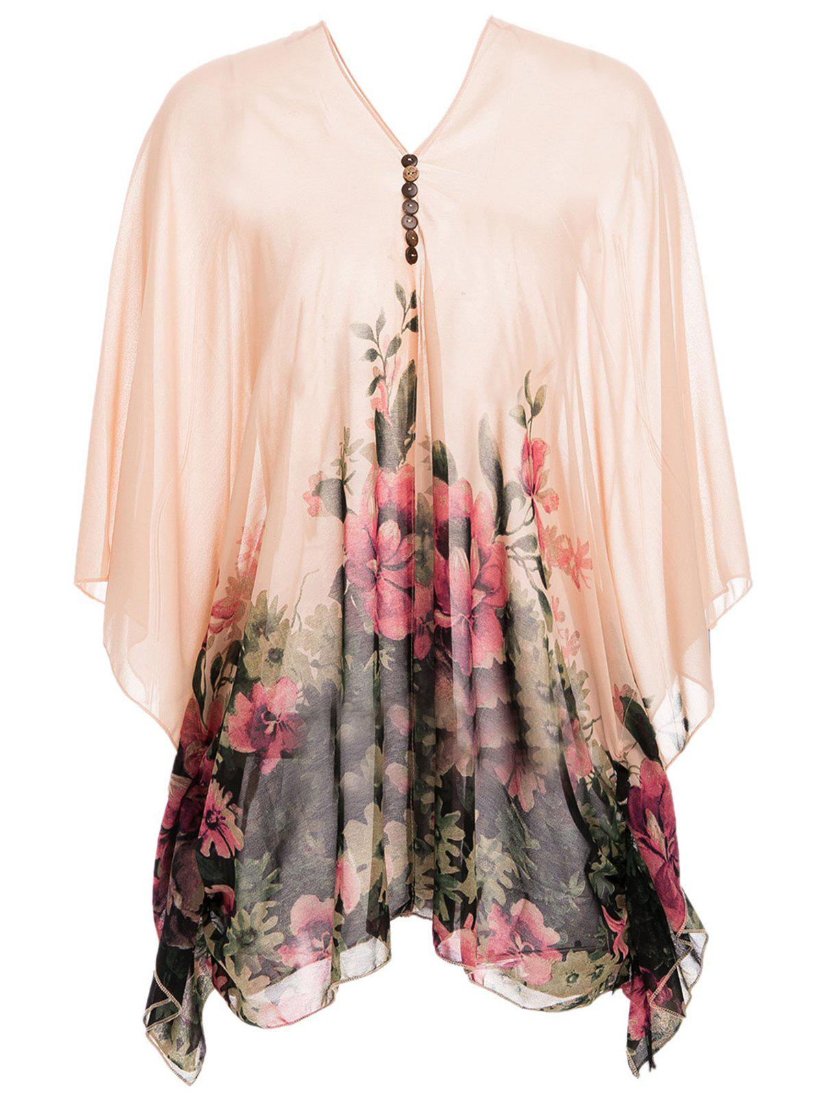 Buttons Design Batwing Sleeve V-Neck Floral Print Pullover Chiffon Maternity Blouse - ORANGEPINK L