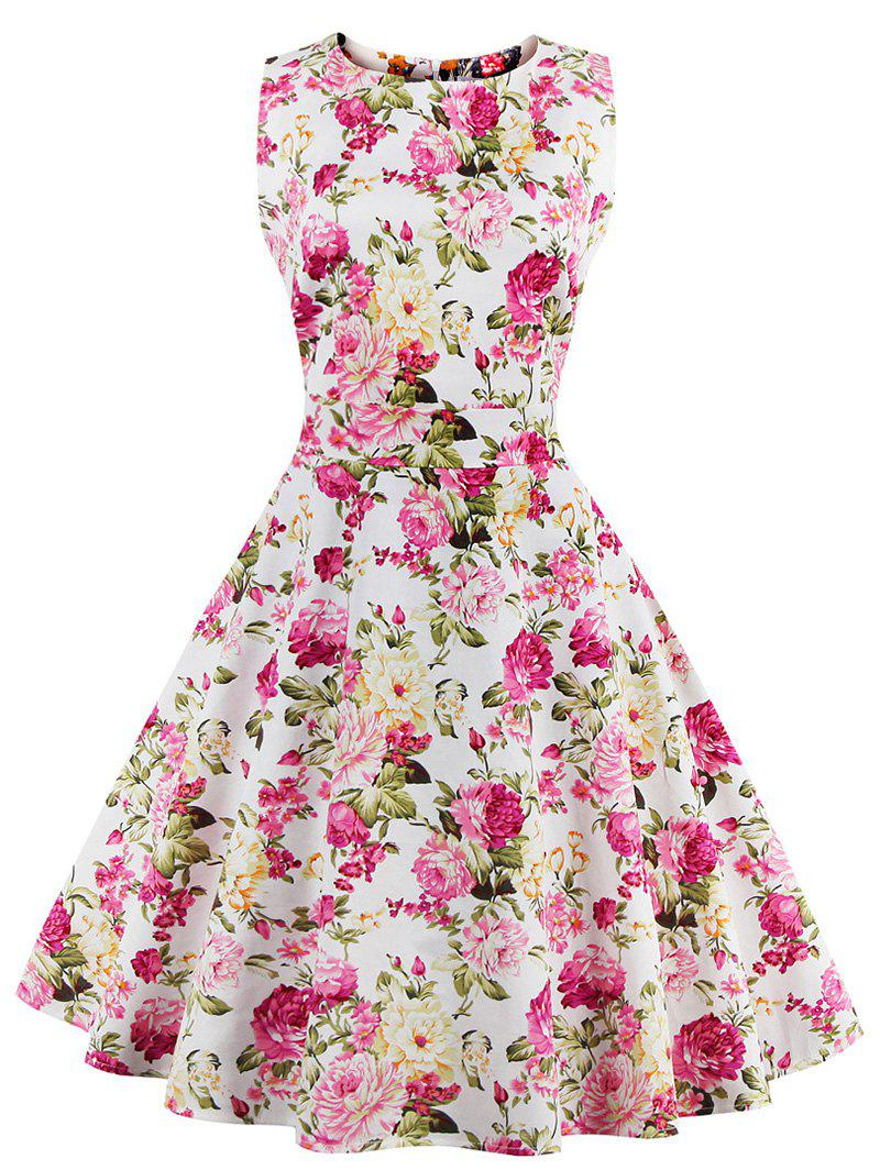 Floral Bowknot Embellished 50s Swing Dress - ROSE MADDER 2XL