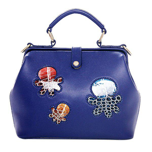 Trendy Octopus Print and PU Leather Design Women's Tote Bag - BLUE