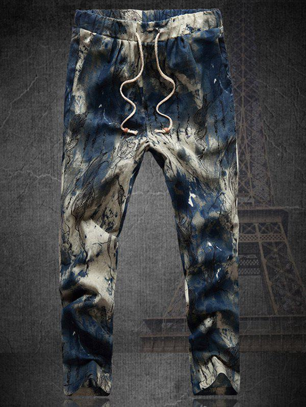Plus Size Multicolor Lace-Up Straight Leg Mens Tie-dyed Nine MInutes of PantsMen<br><br><br>Size: M<br>Color: COLORMIX