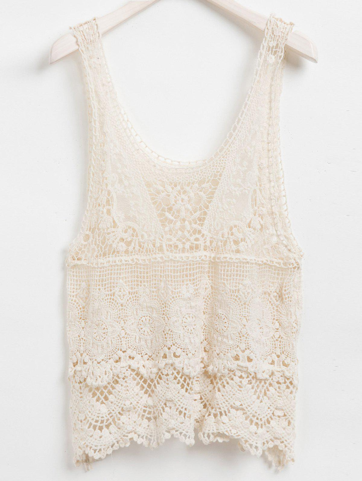 Crochet Embellished Sleeveless Scoop Neck Solid Color Hollow Out Design Lace Tank Top - APRICOT ONE SIZE