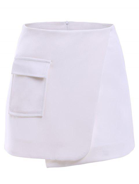 Simple Women's A-line pocket Culottes - WHITE M