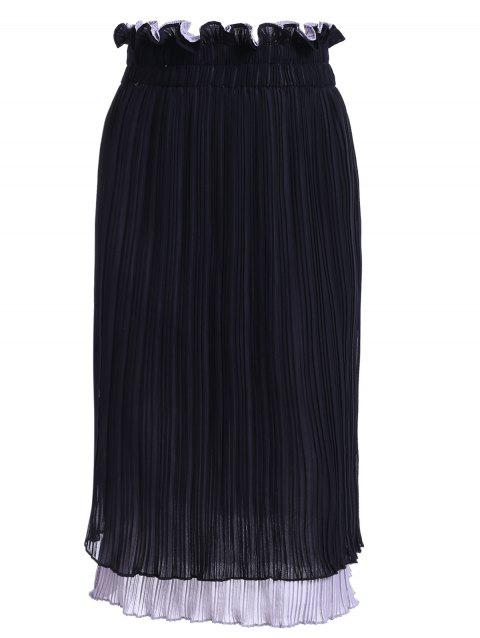 Elegant Women's Panelld Colorful Hoodie Pleated Skirt - BLACK ONE SIZE(FIT SIZE XS TO M)