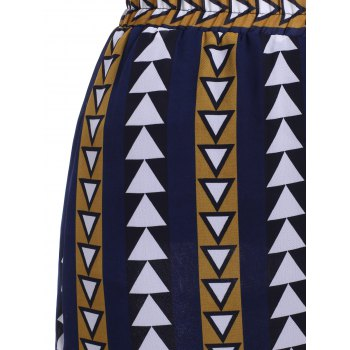 Simple Women's Geometric Print Split Chiffon Mid-Calf Skirt - GINGER ONE SIZE(FIT SIZE XS TO M)