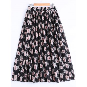 Fashionable Women's Elastic Waist Floral Print Pleated Skirt