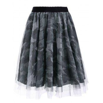 Stylish Women's Voile Camouflage Print Midi Skirt