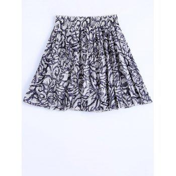 Fashionable Women's Elastic Waist Chiffon Printed Pleated Skirt