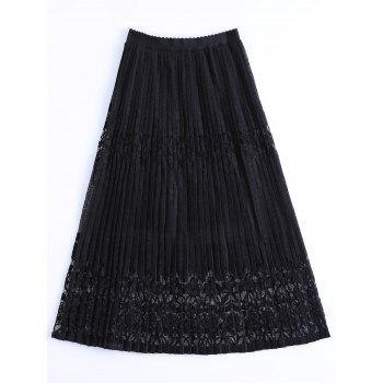 Fashionable Women's High Waist Lace Overlay Pleated Skirt