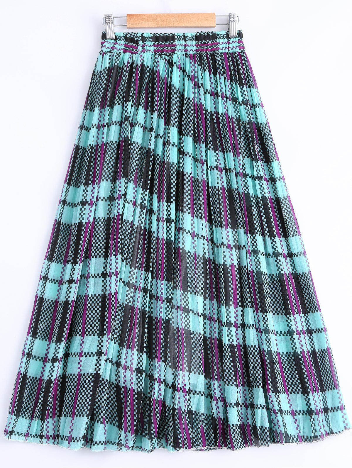 Fashionable Women's Color Block Print Pleated Skirt - TURQUOISE ONE SIZE(FIT SIZE XS TO M)