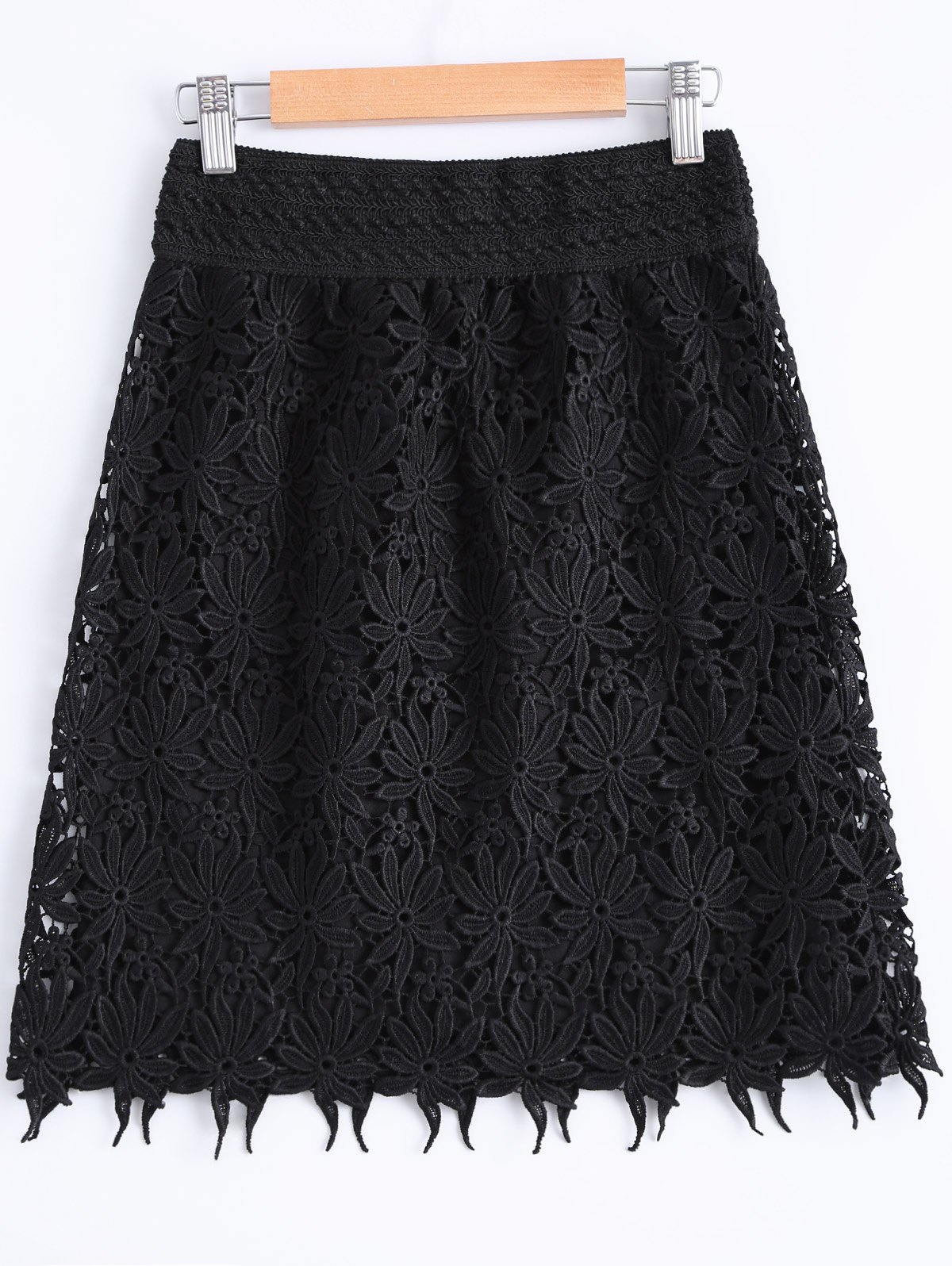 Fashionable Women's Elastic Waist Lace Overlay Bodycon Skirt - BLACK ONE SIZE(FIT SIZE XS TO M)