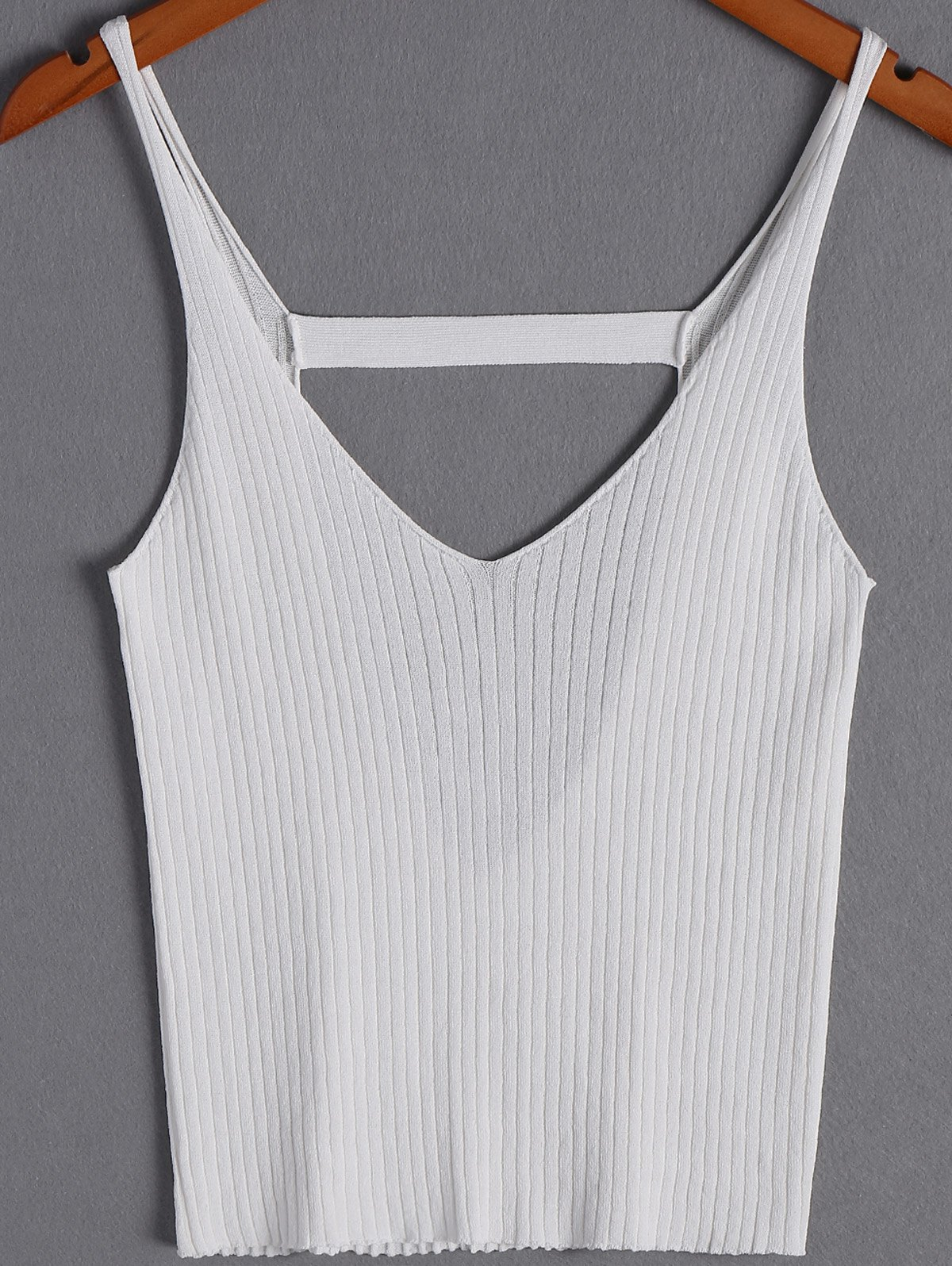 Stylish Women's V-Neck Spaghetti Strap Backless Top - WHITE ONE SIZE(FIT SIZE XS TO M)