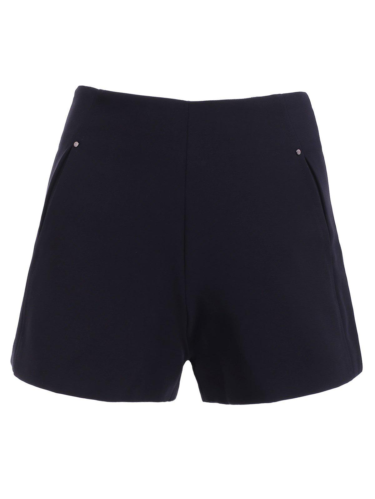 Simple Women's Solid Color High Waist Pockets Shorts - BLACK M