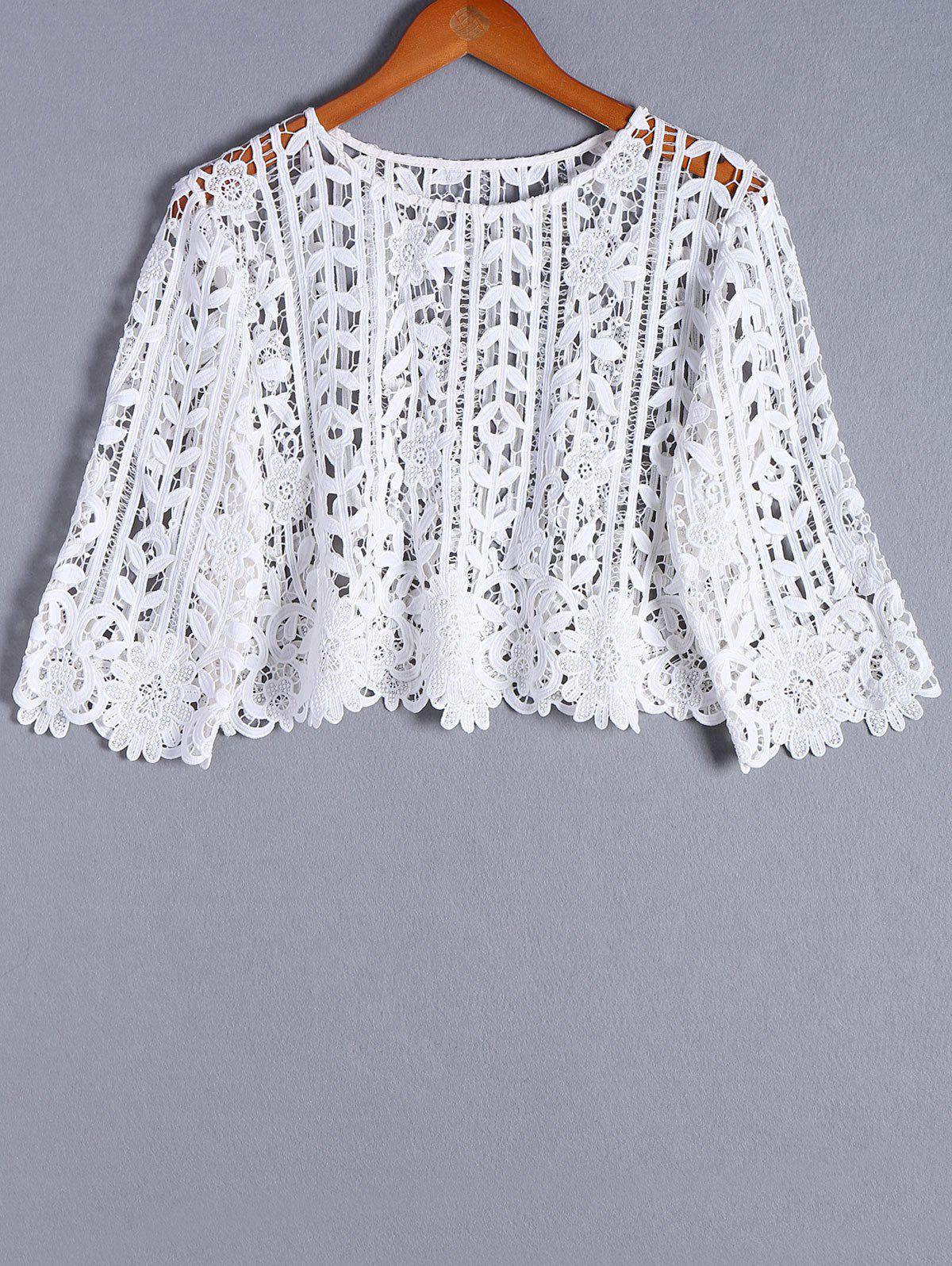 Stylish Openwork 3/4 Sleeve Round Neck Blouse For Women - WHITE ONE SIZE(FIT SIZE XS TO M)