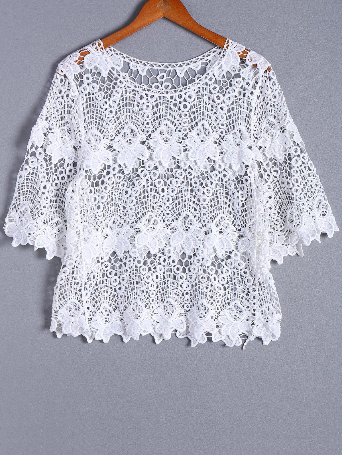 Casual Openwork Round Neck Bell Sleeve Blouse For Women