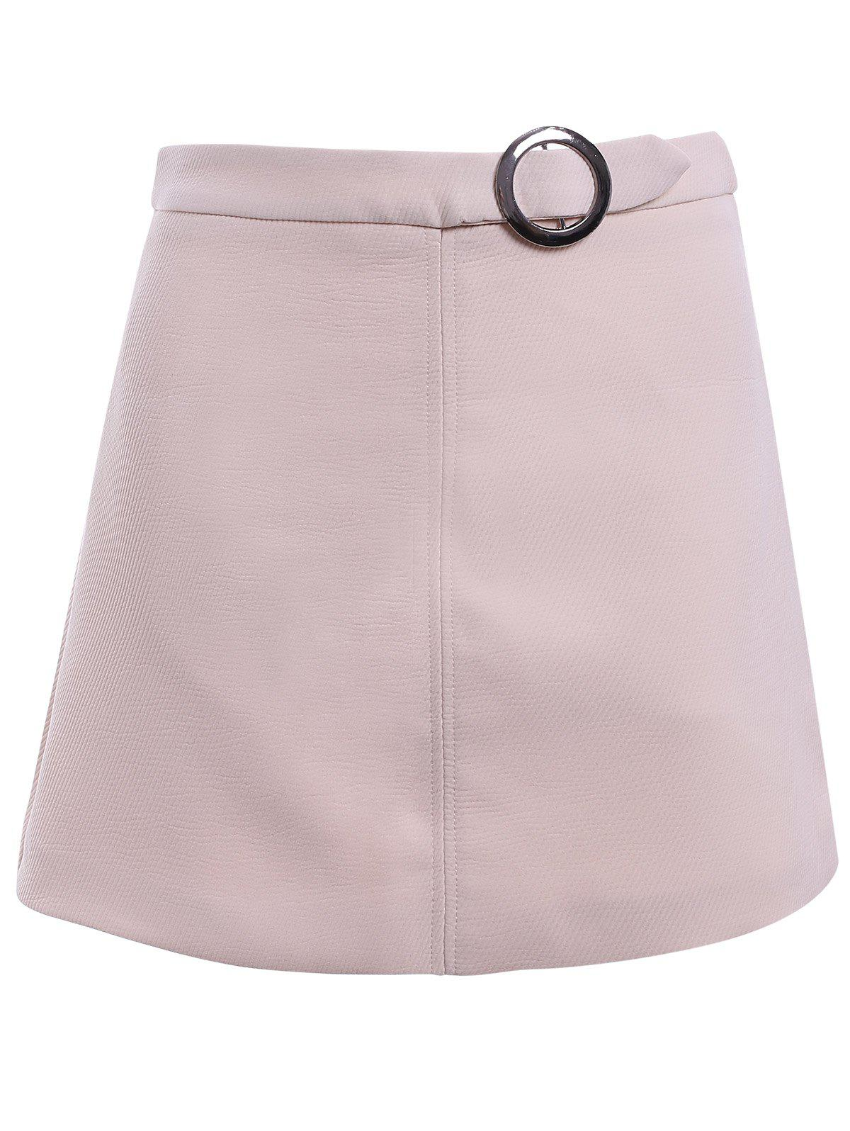 Simple Design Women's A-line Round button Midi Skirt - APRICOT M