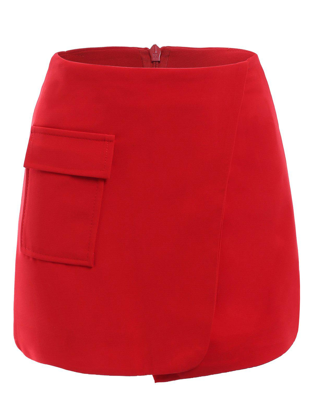 Simple Women's A-line pocket Culottes - RED M