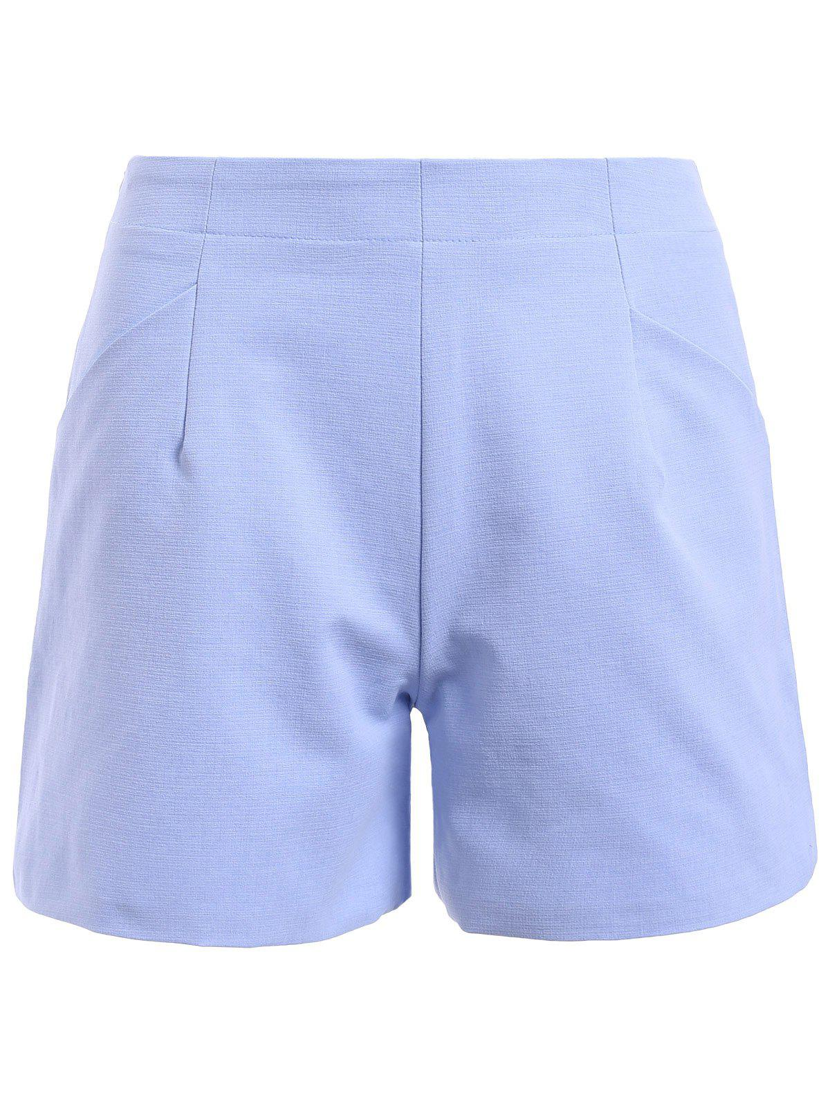 Slimming Women's High-Waisted A-line Shorts - LIGHT BLUE M