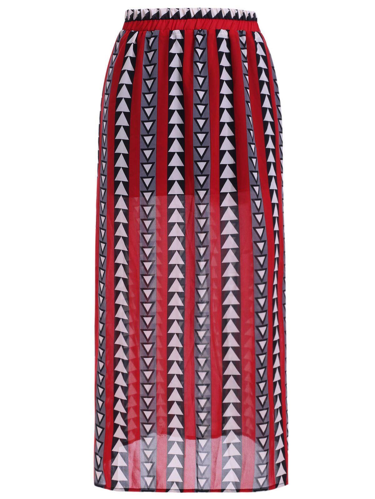 Simple Women's Geometric Print Split Chiffon Mid-Calf Skirt - RED ONE SIZE(FIT SIZE XS TO M)