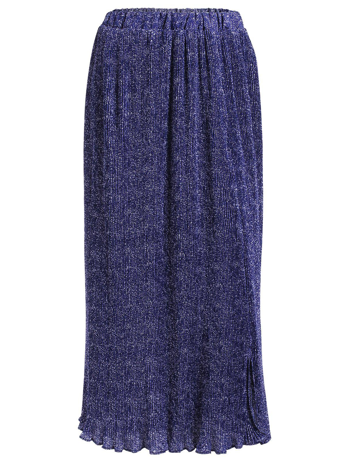 Bohemian Women's Tiny Floral Print Asymmetric Pleated Skirt - PURPLISH BLUE ONE SIZE(FIT SIZE XS TO M)