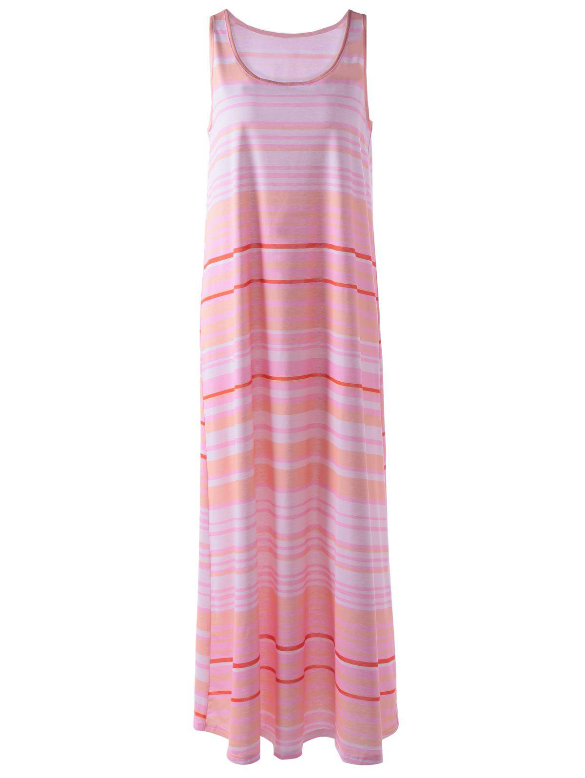 Fashionable Women's Round Neck Sleeveless Stripe Print Long Dress - LIGHT PINK L