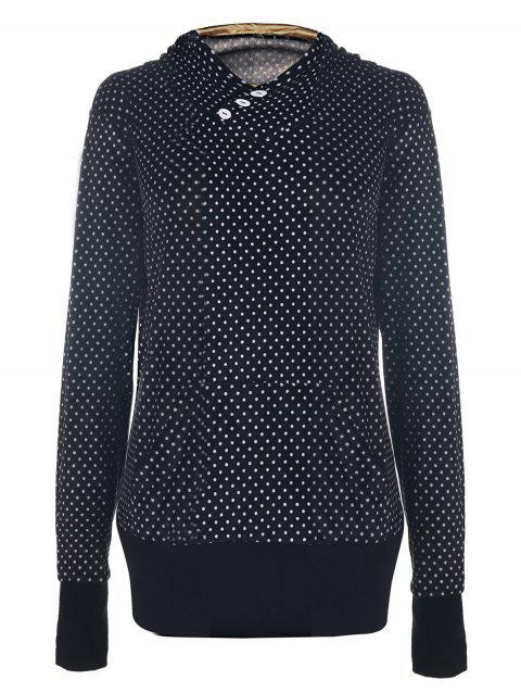 Chic Hooded Long Sleeve Pocket Design Polka Dot Women's Hoodie - BLACK XL