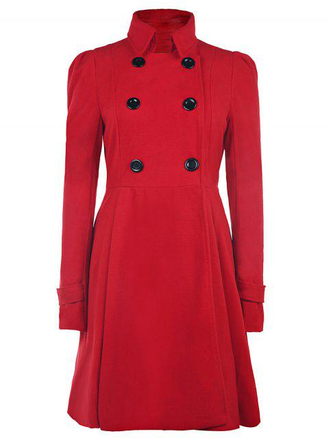 Double Breasted Fit and Flare Wool Coat - RED S