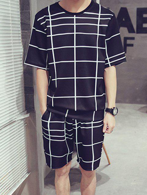 Casual Men's Round Neck Color Block Short Sleeves Plaid T-Shirt Suits For Men(T-Shirt+Shorts) - CHECKED 4XL