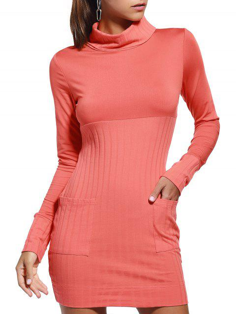 Trendy Marled Turtle Neck Long Sleeve Bodycon Dress For Women - ORANGE RED L