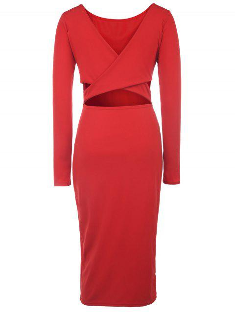 Sexy Plunging Neck Criss-Cross Long Sleeve Dress For Women - JACINTH L