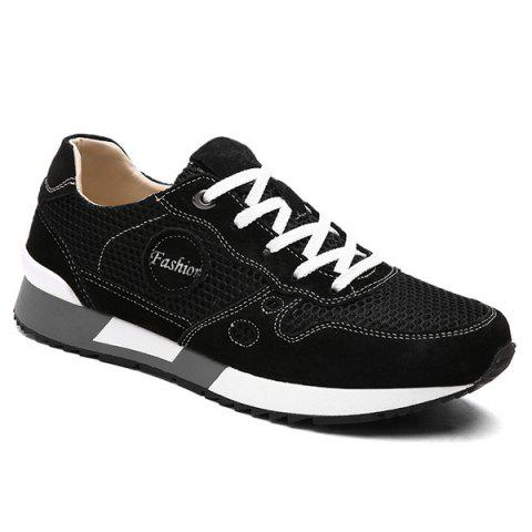 Stylish Mesh and Solid Color Design Men's Athletic Shoes - BLACK 40