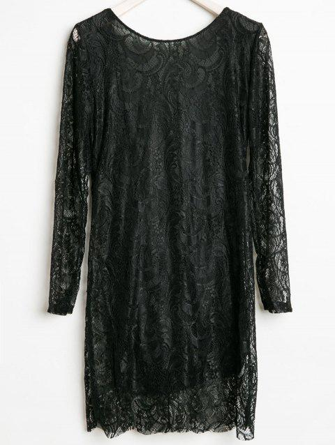 Openwork Design Long Sleeve Round Collar Backless Black Color Lace Packet Buttock Dress