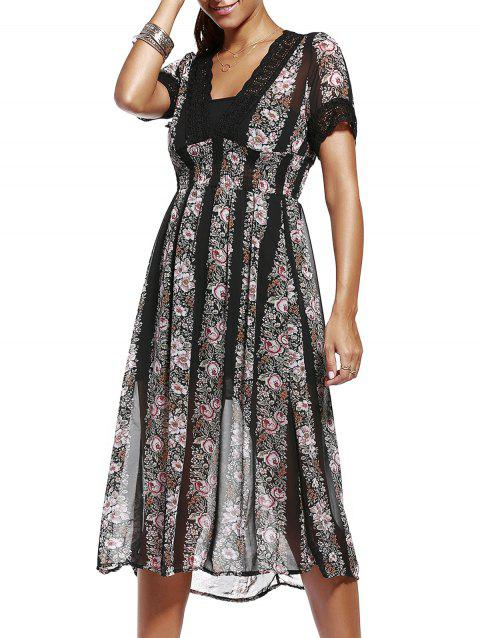 Women's Stylish V-Neck Print Crochet Trim Dress - BLACK ONE SIZE(FIT SIZE XS TO M)