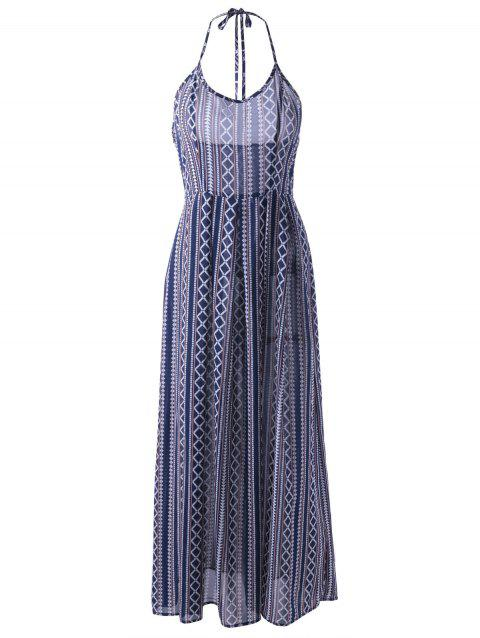 Ethnic Style Women's Fitted Halterneck Backless Maxi Dress - PURPLISH BLUE S