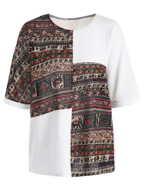 Casual Tribal Print Short Sleeve Round Neck Women's T-Shirt - WHITE ONE SIZE(FIT SIZE XS TO M)