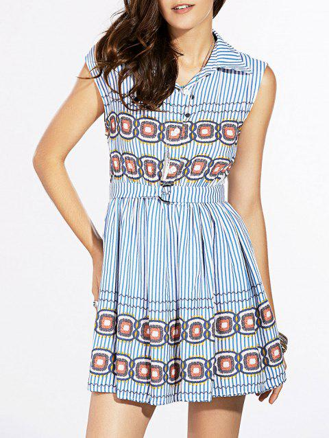 Fashionable Sleeveless Slimming Striped Printed Women's Dress - LIGHT BLUE