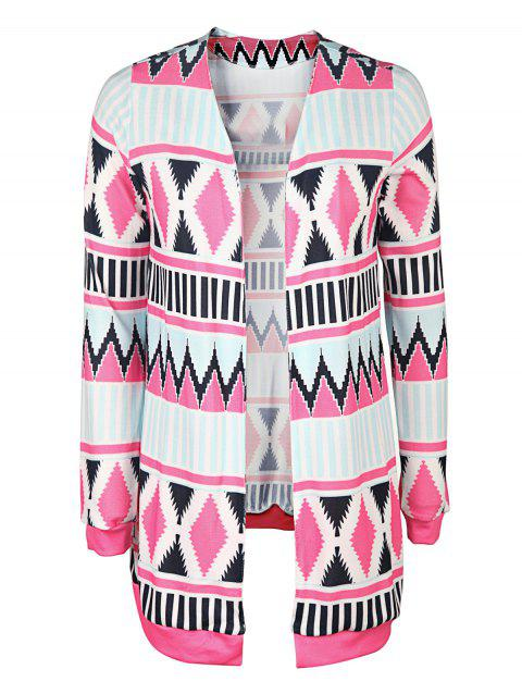 Trendy Long Sleeve Collarless Geometric Print Women's Cardigan - BLUE/PINK M