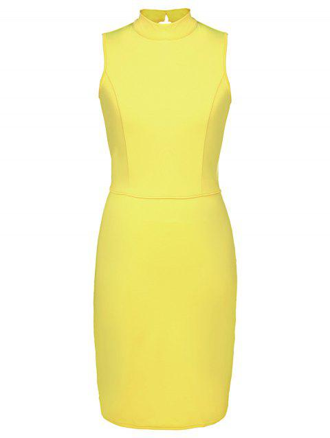 Graceful Sleeveless Stand Collar Hollow Out Pink Women's Bodycon Dress - YELLOW M