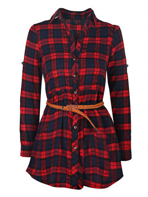 Trendy Long Sleeve Shirt Collar Plaid Women's Dress - RED L