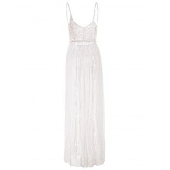 Solid Color Backless Sleeveless V-Neck Lace Splcing Wide Hem Alluring Dress - WHITE S