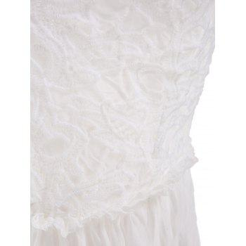 Solid Color Backless Sleeveless V-Neck Lace Splcing Wide Hem Alluring Dress - WHITE WHITE