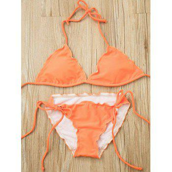 Push Up Halter Self Tie Bikini Set - ORANGE S