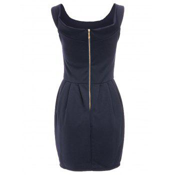 Chic Solid Color Boat Neck Zippered Dress For Women - DEEP BLUE DEEP BLUE