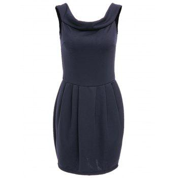 Chic Solid Color Boat Neck Zippered Dress For Women - DEEP BLUE L