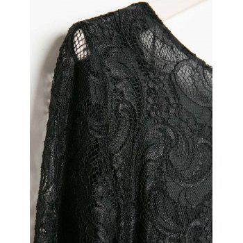 Openwork Design Long Sleeve Round Collar Backless Black Color Lace Packet Buttock Dress - BLACK L