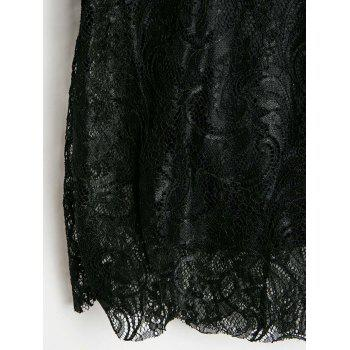 Openwork Design Long Sleeve Round Collar Backless Black Color Lace Packet Buttock Dress - BLACK XL