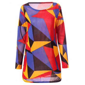 Colorful Geometric Print Long Sleeve Round Neck Loose T-Shirt