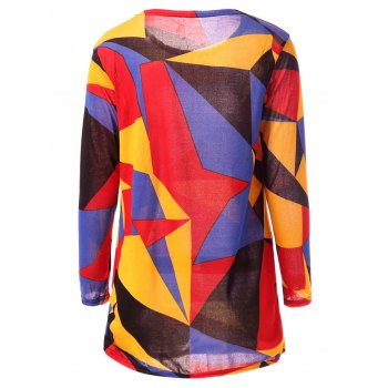 Colorful Geometric Print Long Sleeve Round Neck Loose T-Shirt - COLORFUL L